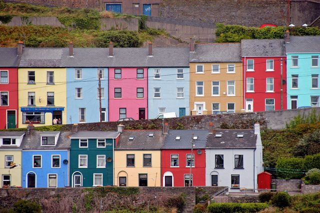 Gekleurde huizen Cork