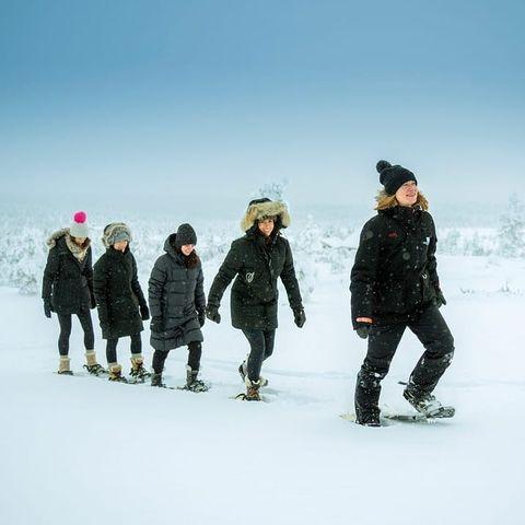 Sneeuwschoen wandeling, Fins Lapland